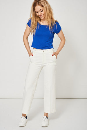 Cream Denim Culottes Ex-Branded - Modern Choices