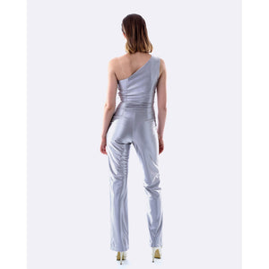 One Shoulder Pant Suit - Silver