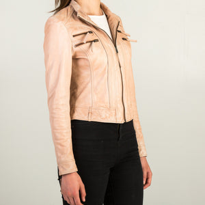 Cream Leather Jacket  + Free Protective Face Mask