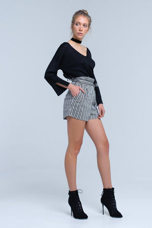 Black knit sweater with gold lurex detail - Modern Choices