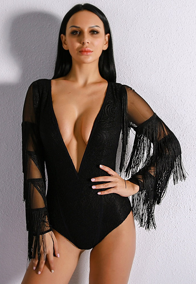 Black Fringe Bodysuit - Modern Choices