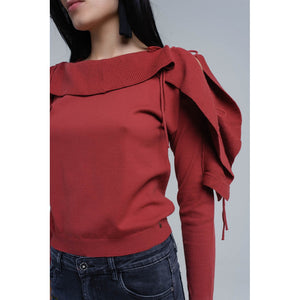 Sweater with tied ruffle sleeves in rust