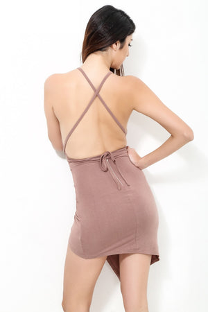 Solid Sexy Back Casual Party Dress