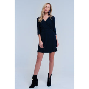 Navy wrap dress with lace detail