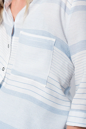 Blue stripe shirt with tie sleeves - Modern Choices