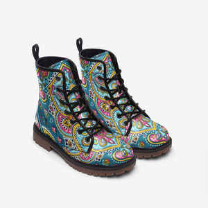 Indian Floral Paisley Medallion Leather Combat Boots