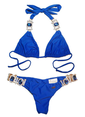 Tina Halter Top & Skimpy Bottom - Blue
