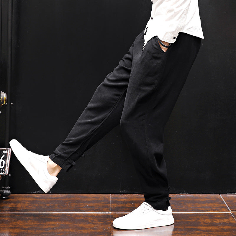 Autumn Spring Vintage Pants Men Casual Solid Color Cotton Linen Retro Full Length Harem Pants Loose Trousers