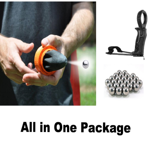 ALL IN ONE : Fun Pocket Shot Catapult + Bracer Launcher + 500 Pcs Stell Balls