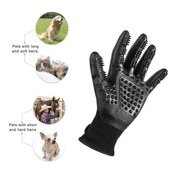 Pet Grooming Gloves For Cats, Dogs & Horses - Long & Short Fur