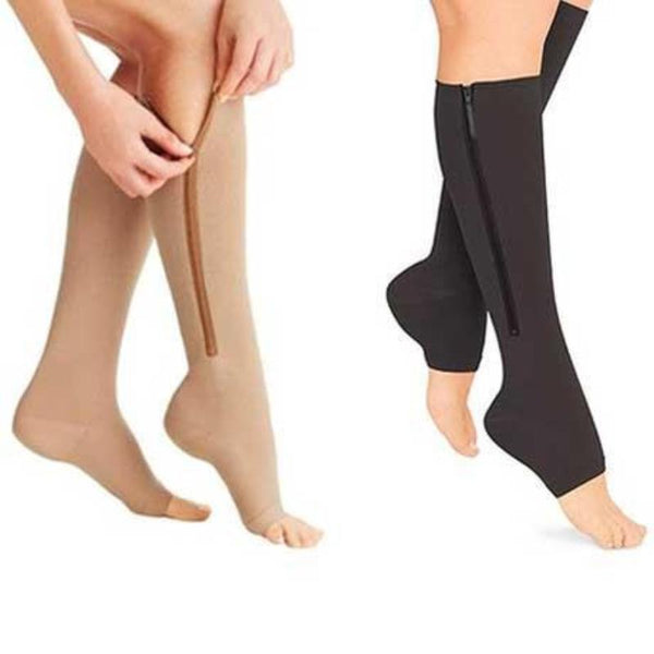 Open Toe Plantar Zipper Compression Socks