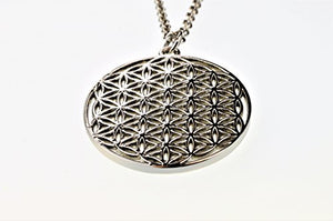 "Flower of Life Pattern Charm Alloy Metal 1.2"" with 20 Inch Stainless Steel Chain"