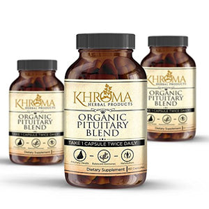 Organic Pituitary Blend - 60 Vegan Capsules in a Glass Bottle - For Maximum Pituitary Support - by Khroma Herbs