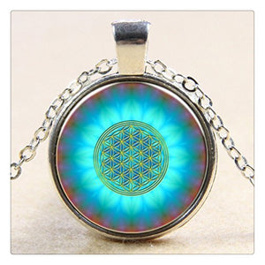 Blue Flower Of Life Logo Pendant Chakra Necklace Sacred Geometry Jewelry Art Glass Cabochon Necklace