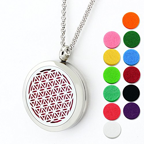 Lademayh Flower of Life Diffuser Necklace for Aromatherapy Essential Oil Jewelry, 30mm Round Stainless Steel Pendant Locket, Perfume Necklace with 24