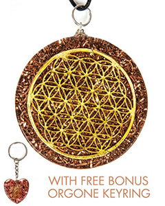 Luvin Life Flower of Life Orgone Pendant Generator EMF protection with Bonus Amethyst Key Ring and E-Book.