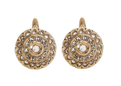 Vintage Italian Diamond Leverback Earrings