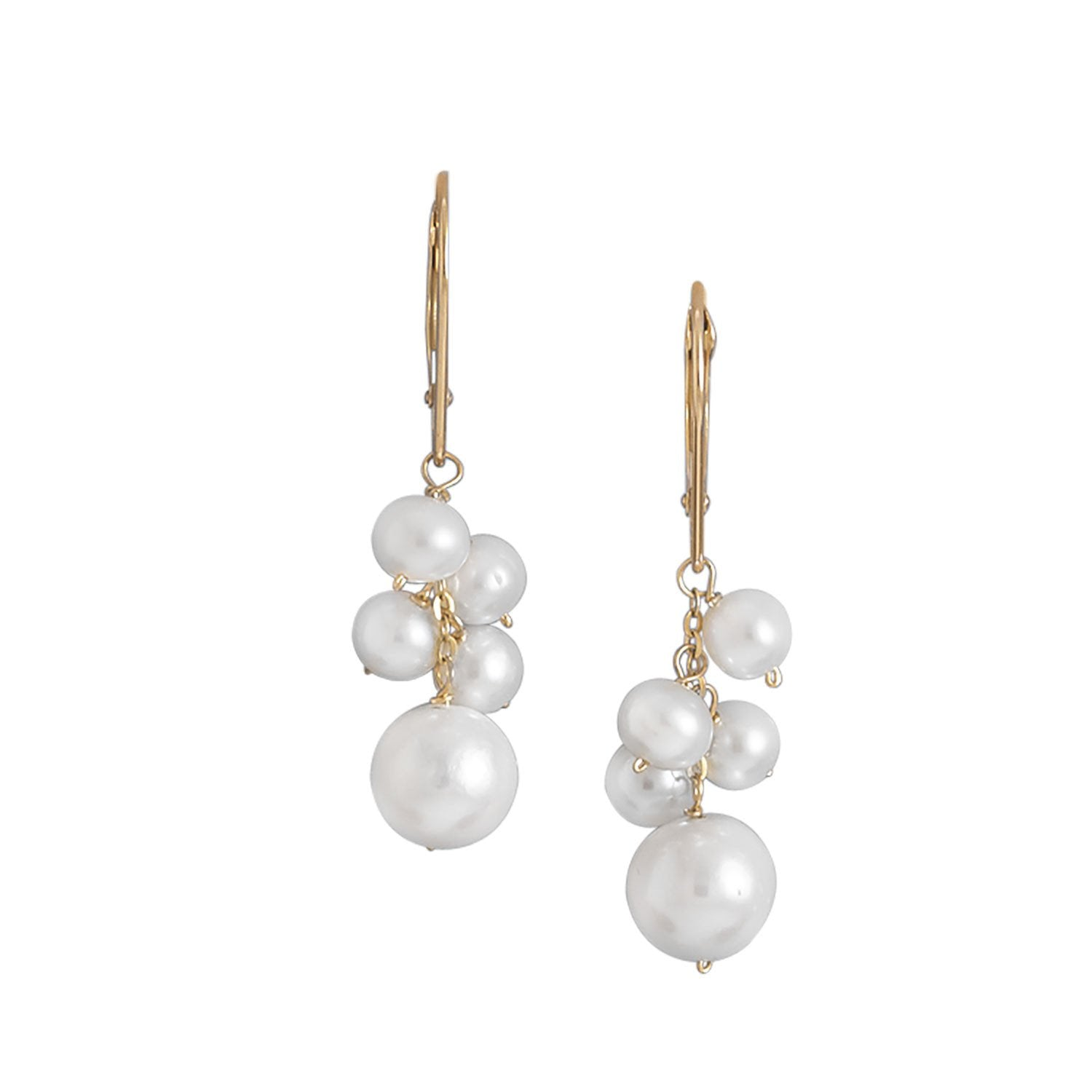 ea56f651a Cultured Freshwater Pearl Cluster Drop 14K Yellow Gold Lever Back Earrings