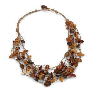 8 Strand Cord Necklace with Genuine Baltic Amber