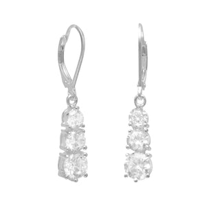 4/5/6mm CZ Lever Back Earrings