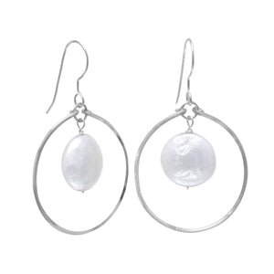 Open Circle French Wire Earrings with Coin Pearl Drop