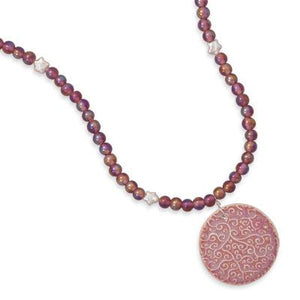 "17.5"" Pink Glass and Cultured Freshwater Pearl Drop Necklace"