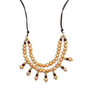 Double Strand Fashion Necklace with Cultured Freshwater Pearls, Wood and Gold Tone Beads
