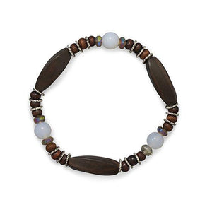 Wood, Chalcedony, and Crystal Stretch Bracelet
