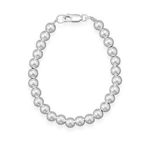 6mm Sterling Silver Bead Strand