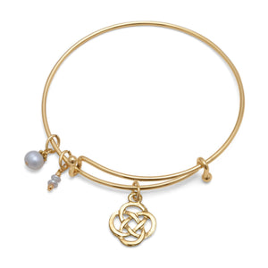 Expandable Gold Tone Celtic Fashion Bangle Bracelet