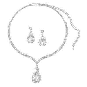 Elegant Silver Tone and Crystal Drop Fashion Necklace and Earring Set