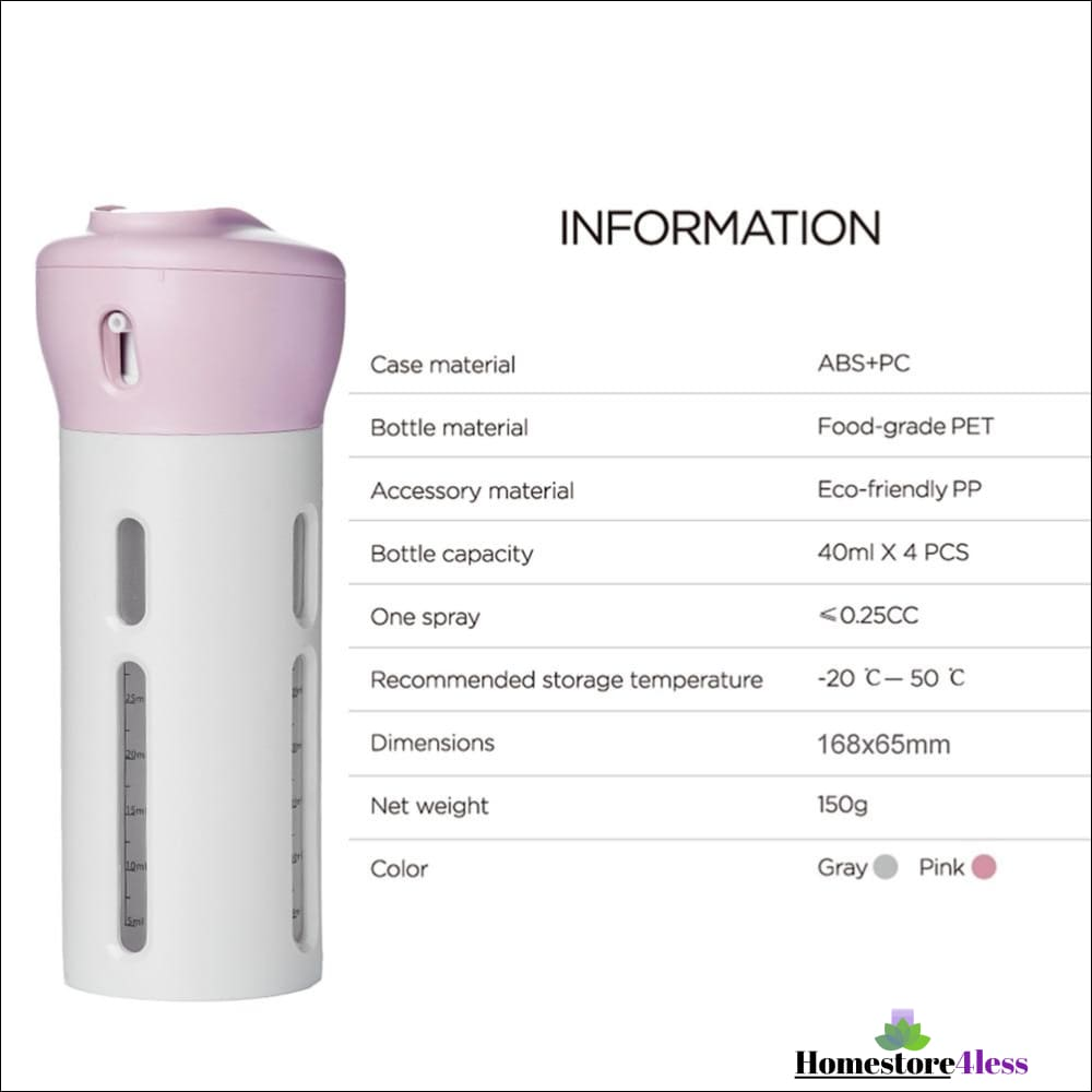 4 In 1 Portable Travel Bottle