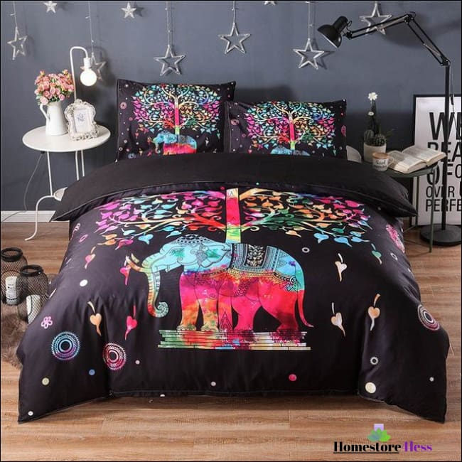 Bohemian Elephant Mandala Bed Sets - 5 / Us Queen