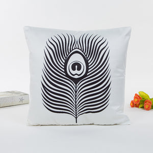 Art / Rayon Sofa Cushion Cover With Feather Shaped Print