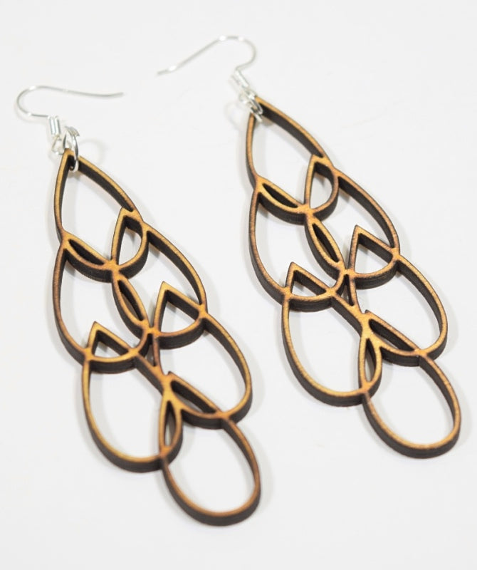 AQUA MULTI birch plywood earrings | Finnish Design | Hyvä Helsinki