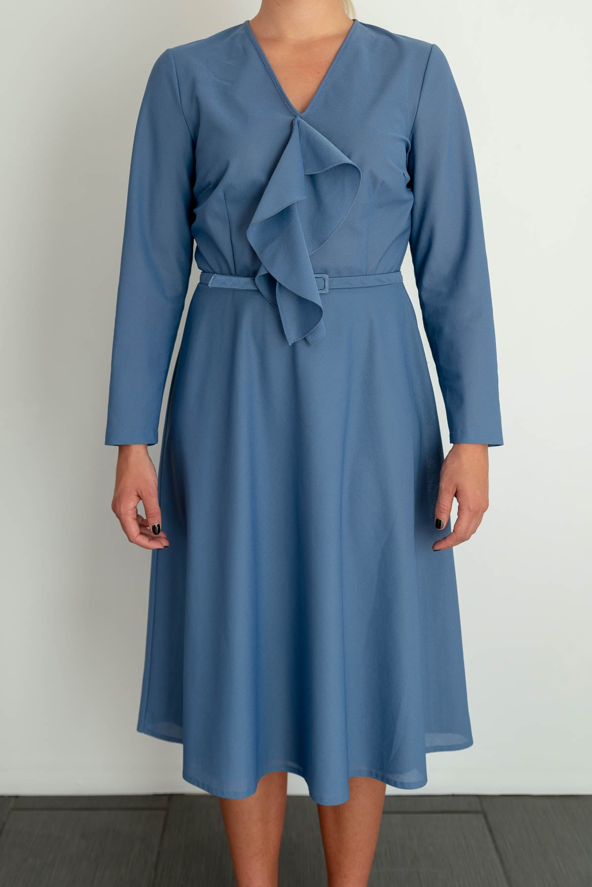 Blue Finn Karelia vintage dress from 70's - 80's Made in Finland, size L