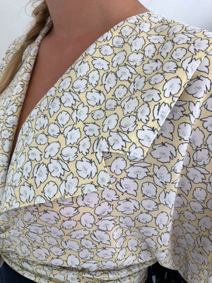yellow vintage shirt with white flowers made in Finland