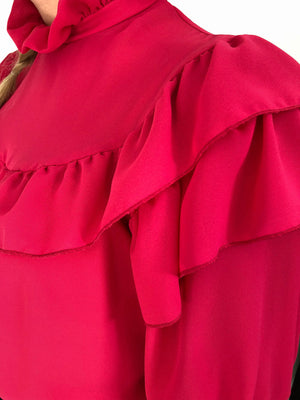Vintage fuchsia ruffle shirt made in Finland