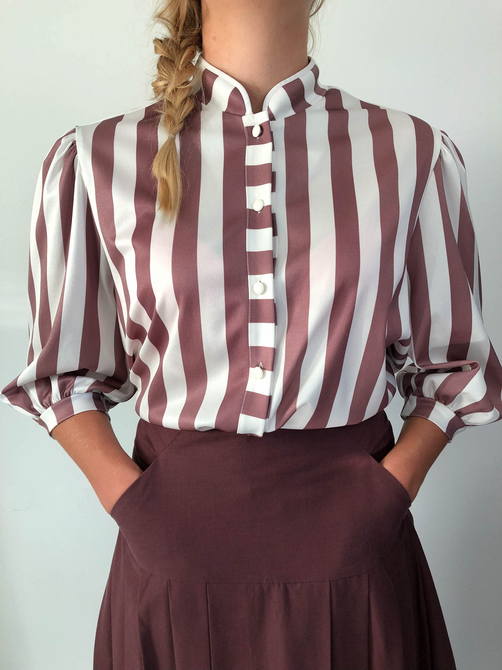 vintage shirt with white and brown stripes made in Finland