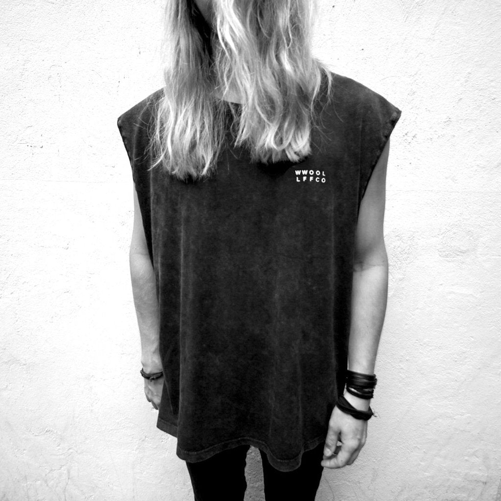 WWOOLLFF Cross | Oversized Acid Washed Sleeveless | 100% Organic | Unisex