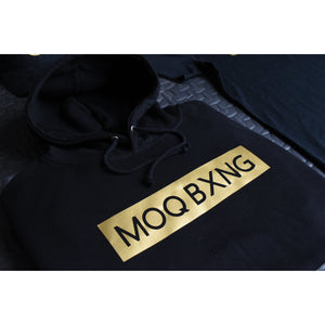 "The ""UNDISPUTED"" Black hoodie with gold box logo"