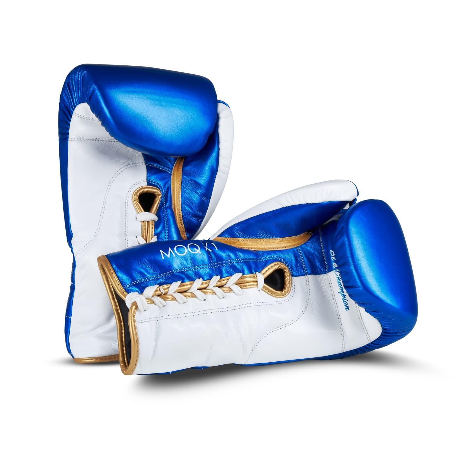 MOQ X1 Blue & White Metallic Lace Up Boxing Gloves