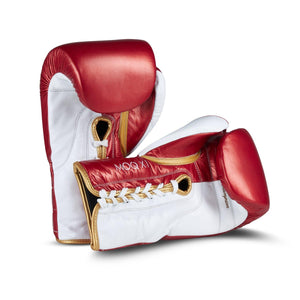 MOQ X1 RED, WHITE & GOLD METALLIC LACE UP BOXING GLOVES