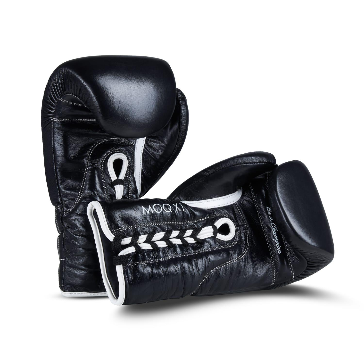 MOQ X1 BLACK & WHITE LACE UP BOXING GLOVES