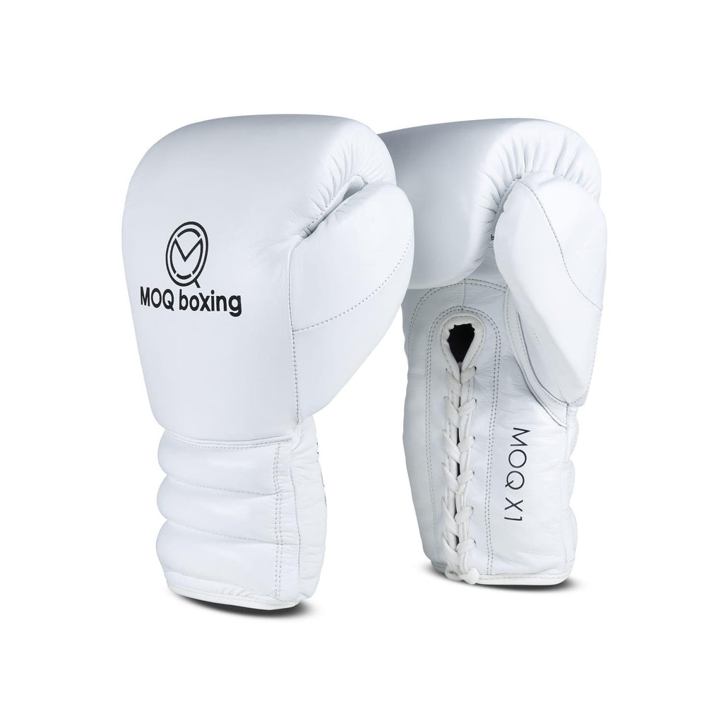 MOQ X1 WHITE & BLACK LACE UP BOXING GLOVES