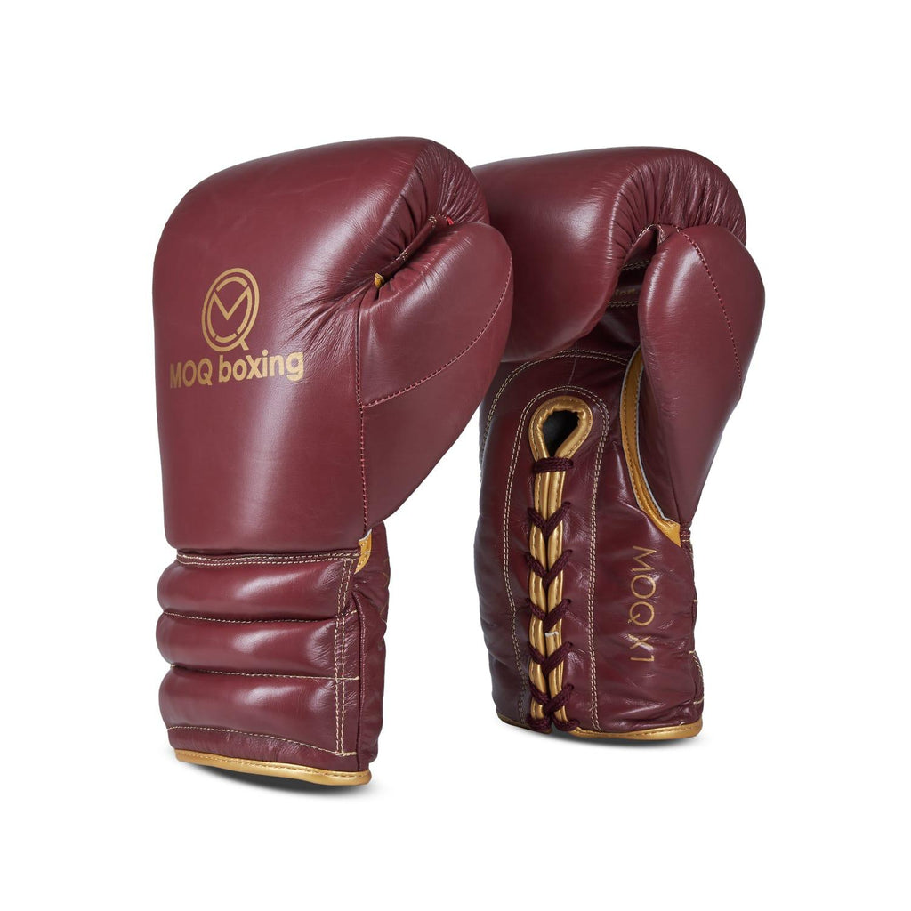 MOQ X1 MAROON & GOLD LACE UP BOXING GLOVES