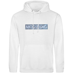 "The ""UNDISPUTED"" White hoodie with Silver box logo"