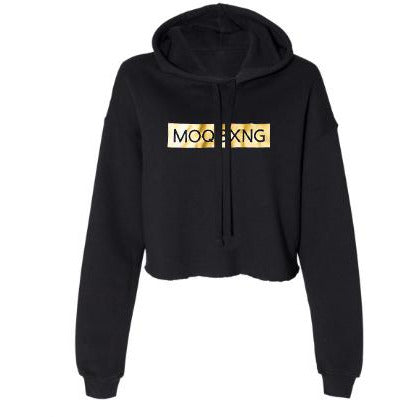 "The ""UNDISPUTED"" ladies cropped black hoodie with Gold box logo"