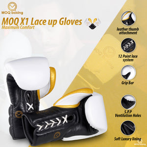MOQ X1 Black, White & Gold Lace Up Boxing Gloves