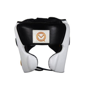 MOQ boxing white, black and gold genuine leather wide vision cheek protector head guard